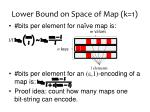 lower bound on space of map k 1