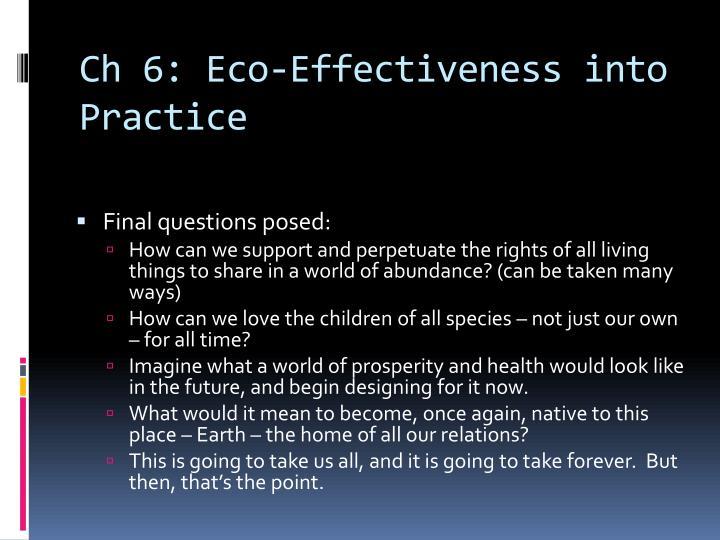 Ch 6: Eco-Effectiveness into Practice