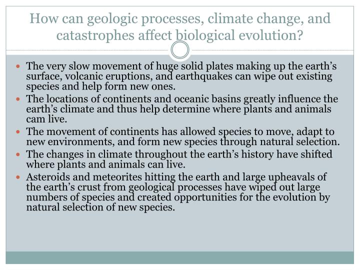 How can geologic processes, climate change, and catastrophes affect biological evolution?