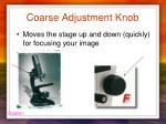 coarse adjustment knob