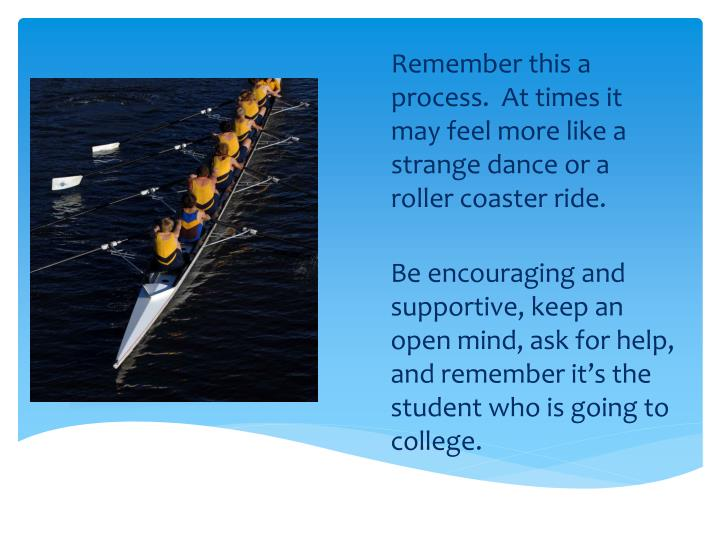 Remember this a process.  At times it may feel more like a strange dance or a roller coaster ride.