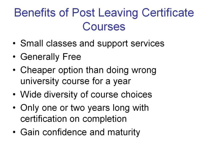 Benefits of Post Leaving Certificate Courses