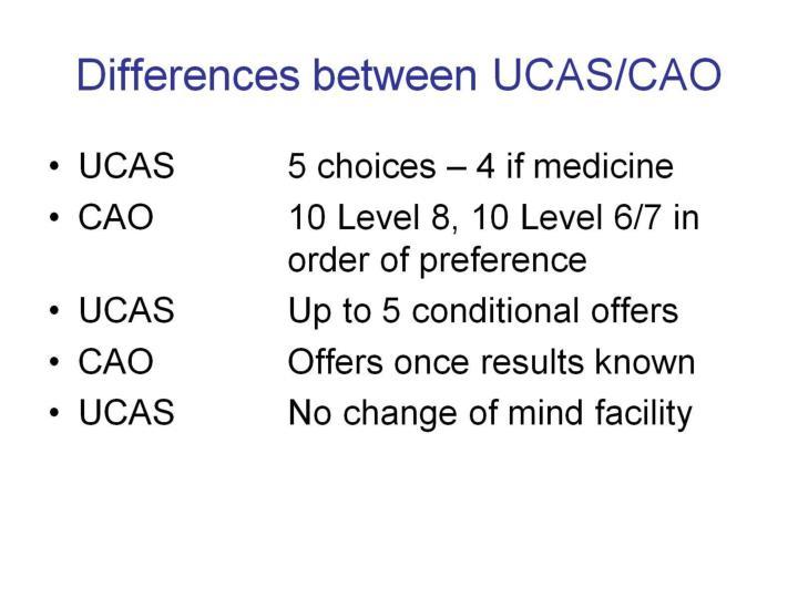Differences between UCAS/CAO