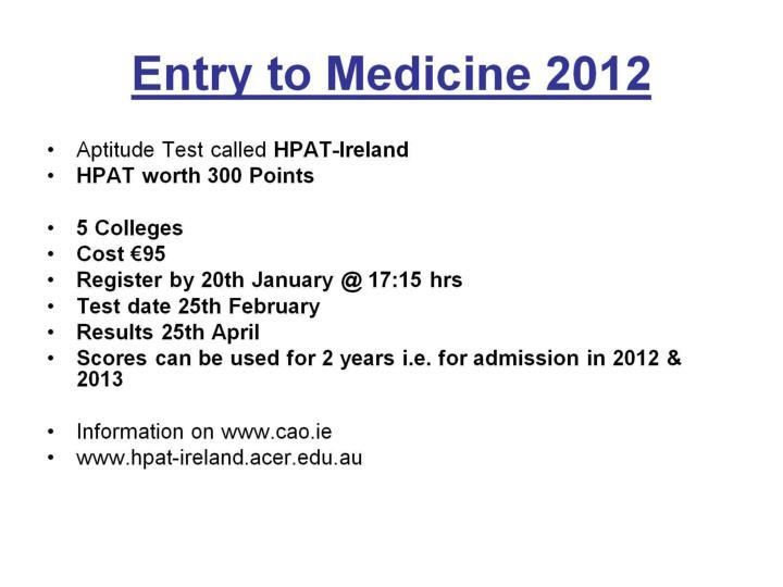 Entry to Medicine 2012