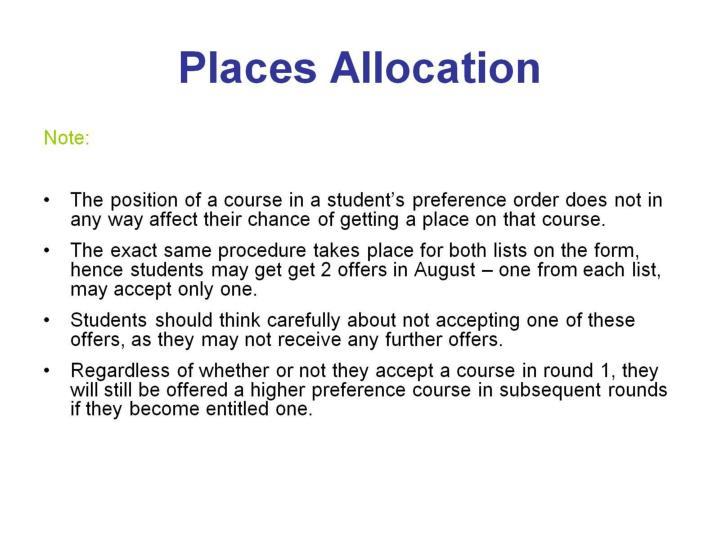 Places Allocation