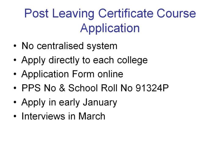 Post Leaving Certificate Course Application