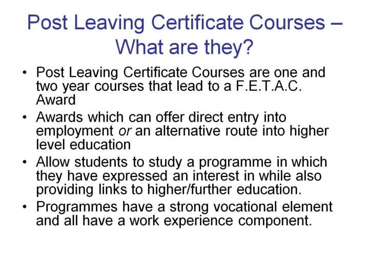 Post Leaving Certificate Courses – What are they?