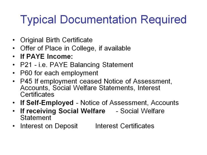 Typical Documentation Required