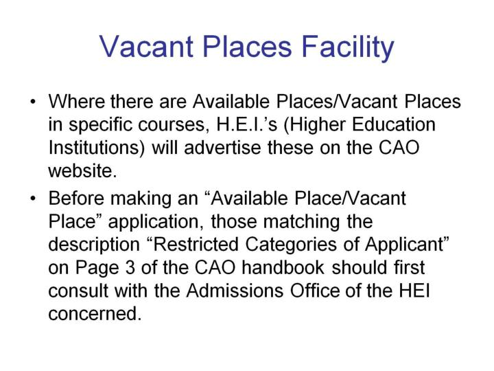 Vacant Places Facility