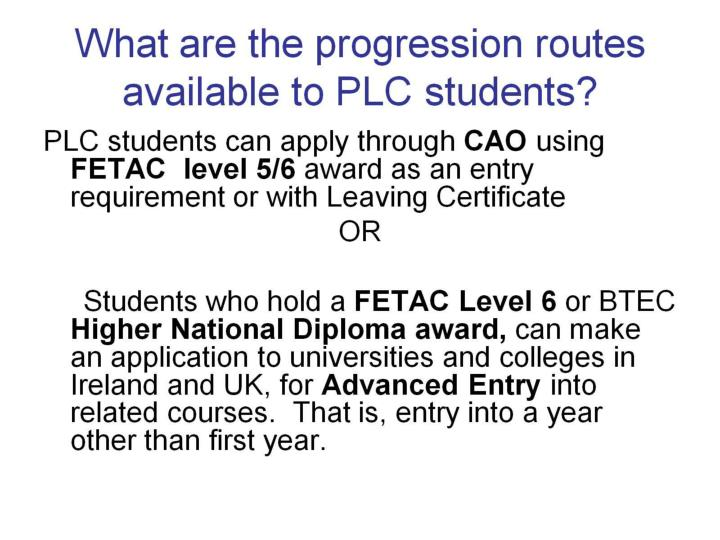 What are the progression routes available to PLC students?