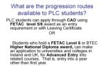 what are the progression routes available to plc students