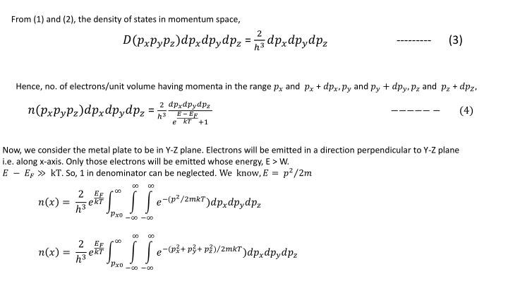 From (1) and (2), the density of states in momentum space,