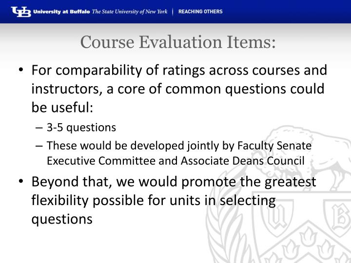 Course Evaluation Items: