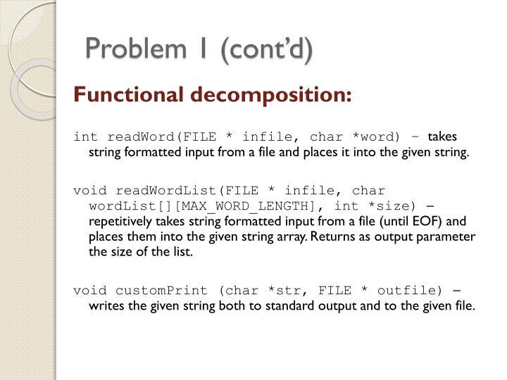 Problem 1 (cont'd)