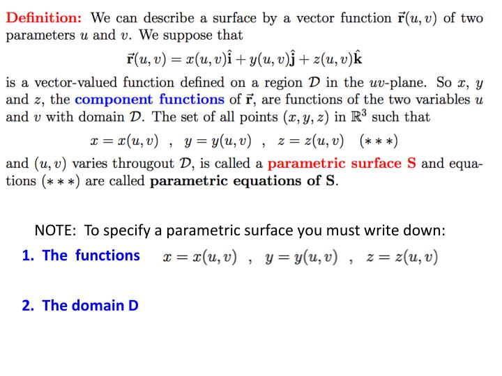 NOTE:  To specify a parametric surface you must write down: