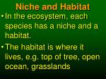 niche and habitat