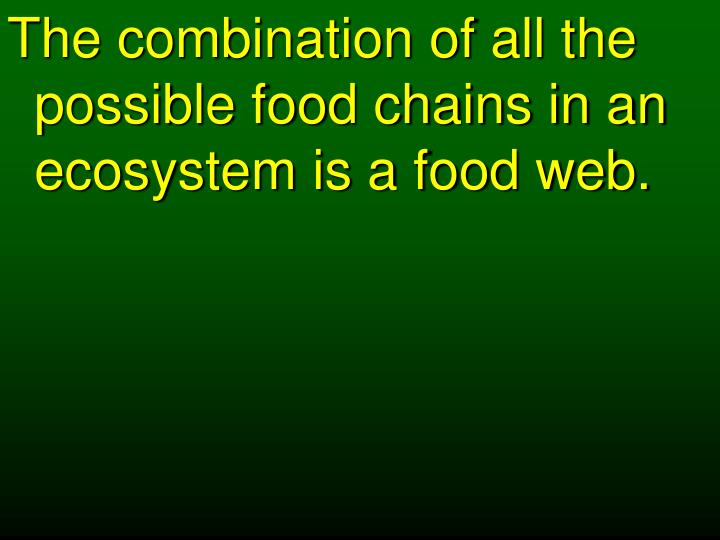 The combination of all the possible food chains in an ecosystem is a food web.