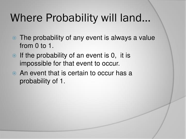 Where Probability will land…