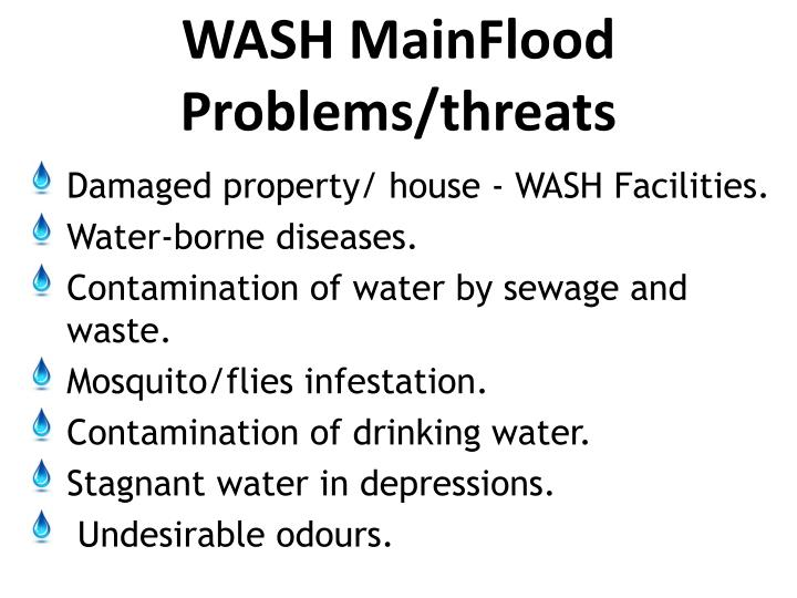 Wash main flood problems threats