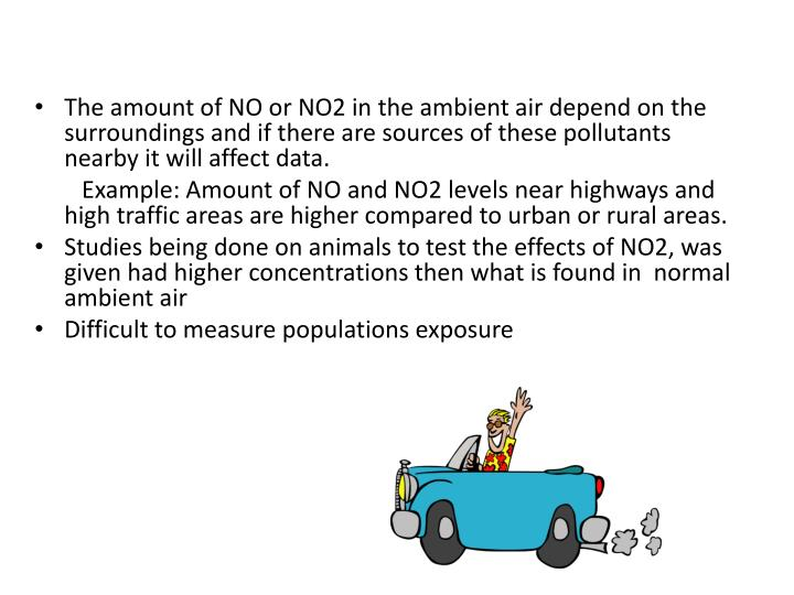 The amount of NO or NO2 in the ambient air depend on the surroundings and if there are sources of these pollutants nearby it will affect data.