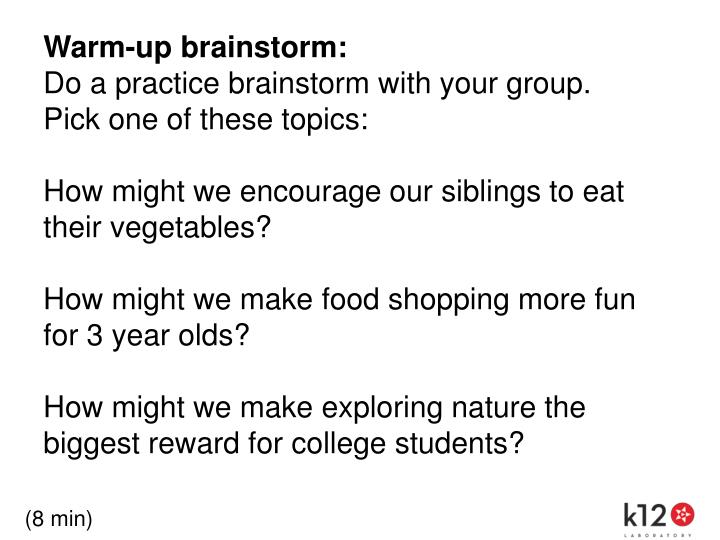 Warm-up brainstorm: