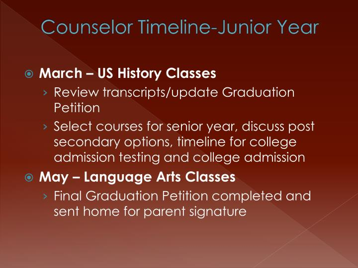 Counselor Timeline-Junior Year