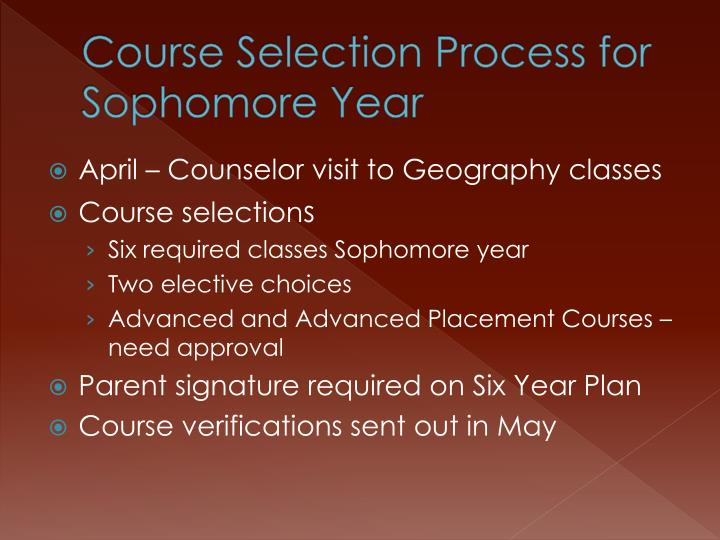Course Selection Process for Sophomore Year