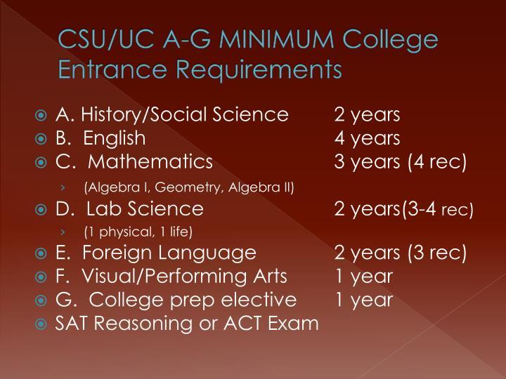 CSU/UC A-G MINIMUM College Entrance Requirements