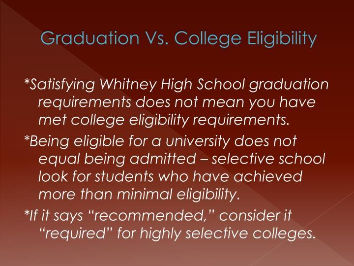 Graduation Vs. College Eligibility