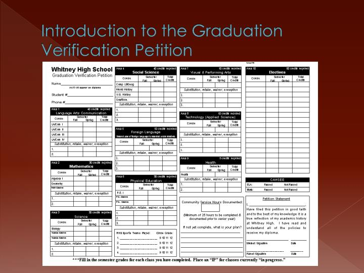 Introduction to the Graduation Verification Petition