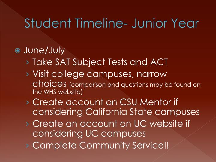 Student Timeline- Junior Year