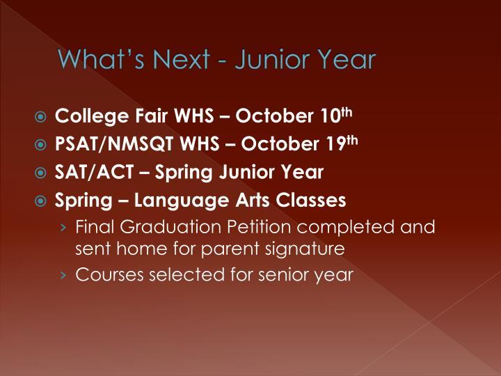 What's Next - Junior Year