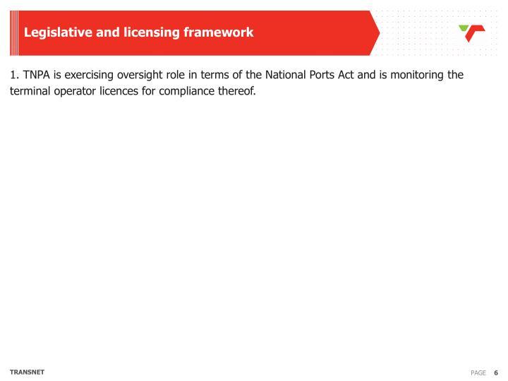 Legislative and licensing framework