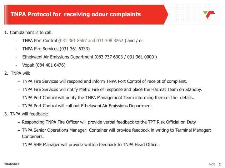 TNPA Protocol for  receiving