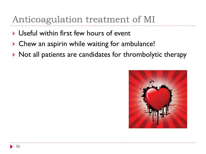 Anticoagulation treatment of MI
