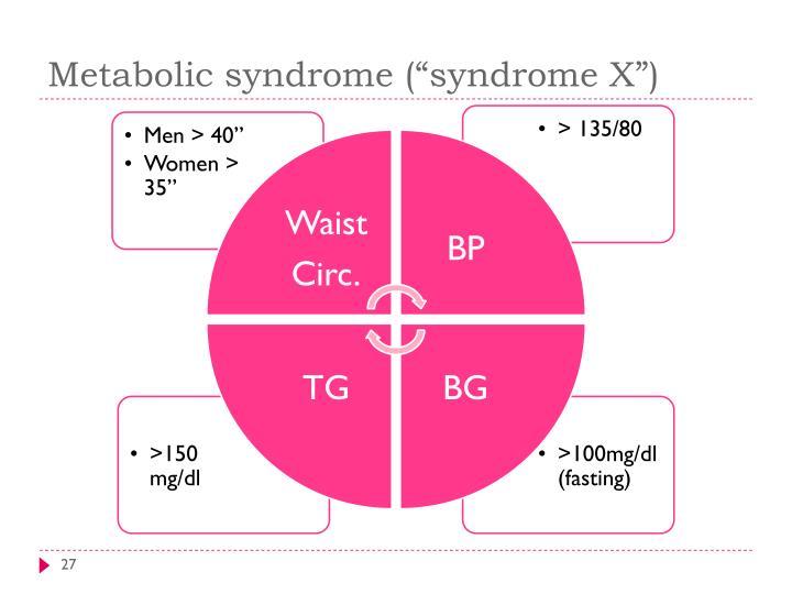 """Metabolic syndrome (""""syndrome X"""")"""