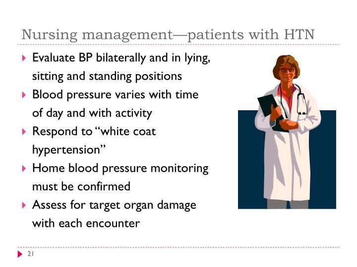 Nursing management—patients with HTN