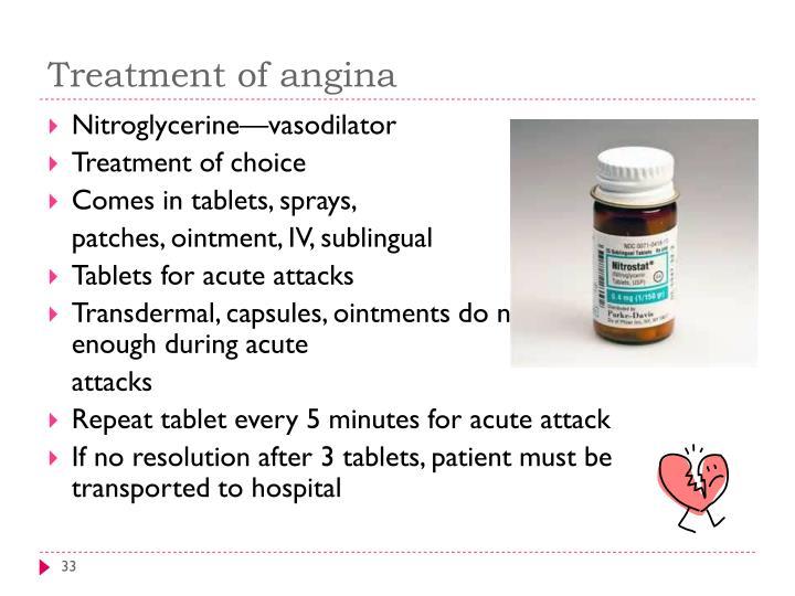 Treatment of angina