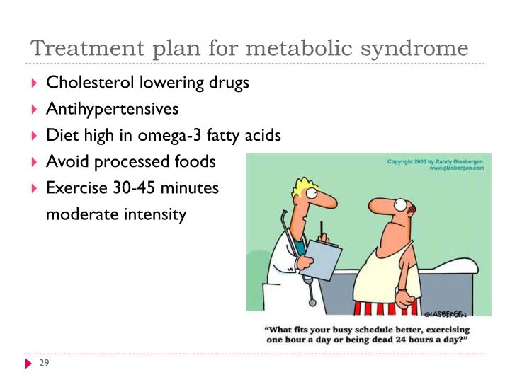 Treatment plan for metabolic syndrome