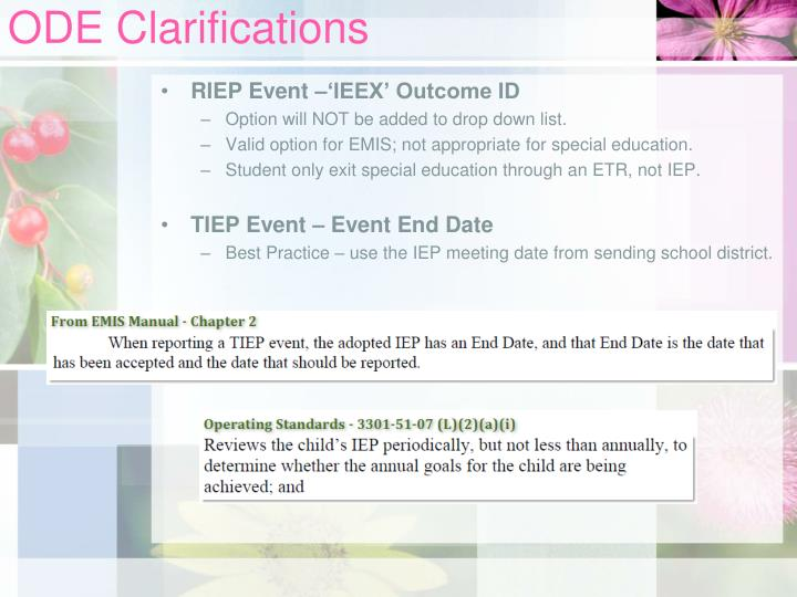ODE Clarifications