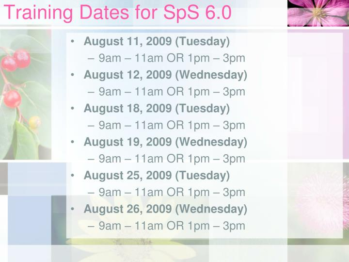Training Dates for