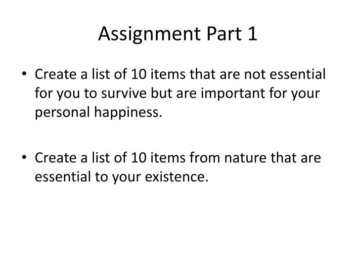 Assignment Part 1
