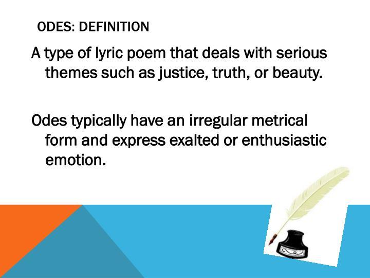 Odes: definition