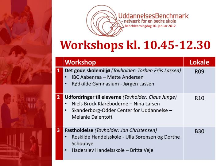 Workshops kl. 10.45-12.30