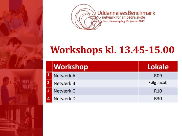 Workshops kl. 13.45-15.00