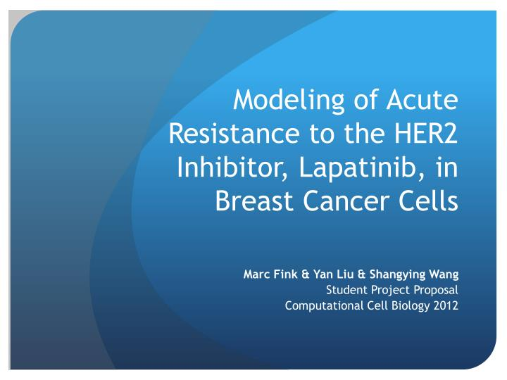 Modeling of acute r esistance to the her2 inhibitor l apatinib in breast c ancer c ells