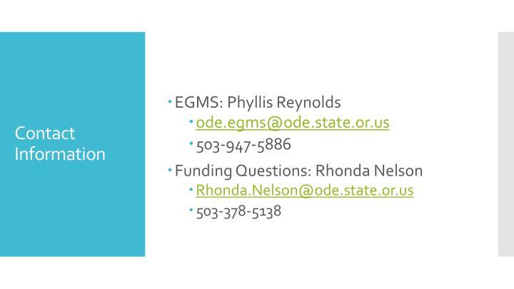 EGMS: Phyllis Reynolds
