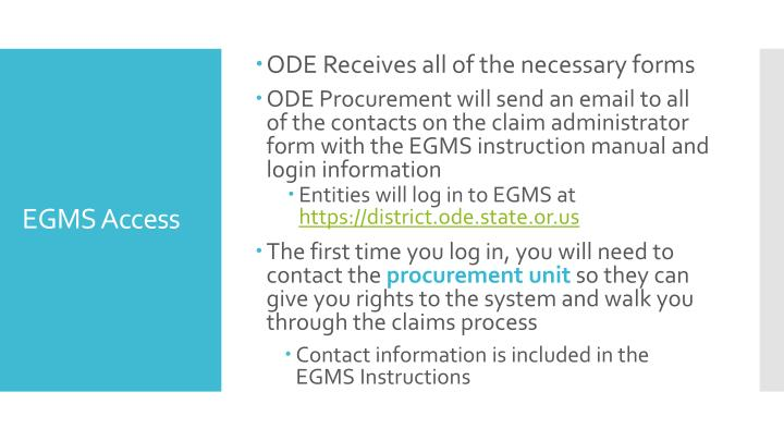 ODE Receives all of the necessary forms