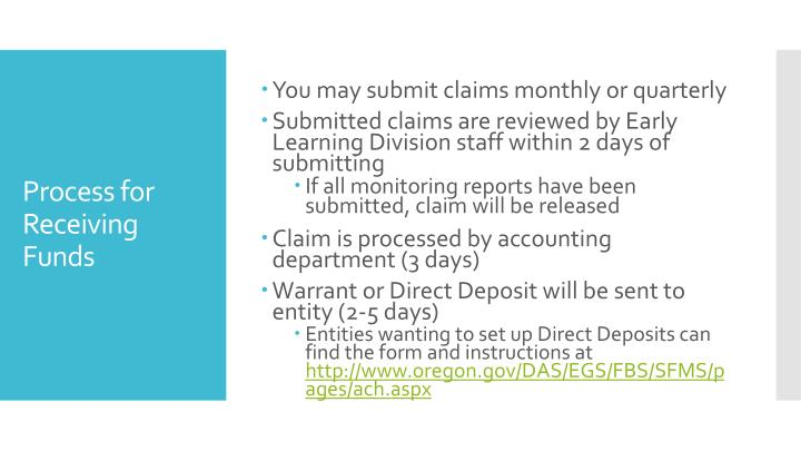 You may submit claims monthly or quarterly