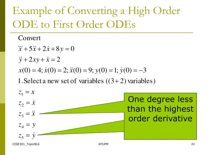 Example of Converting a High Order ODE to First Order ODEs